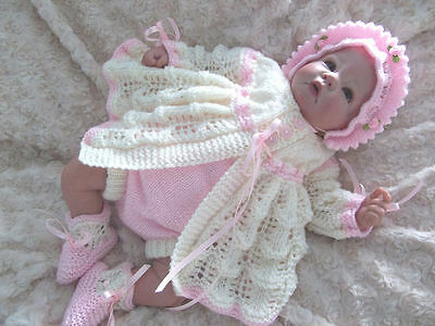 """Knitting pattern for lacy matinee set to fit 0-3 month baby or 18-22"""" reborn"""