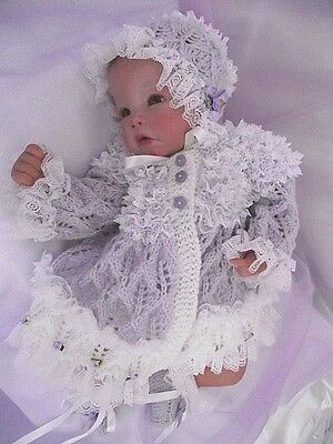 Knitting pattern for baby matinee set to fit 0-3 month baby/reborn doll