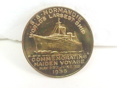 S.S. NORMANDIE  1935 Brass Maiden Voyage Medallion, SS Normandie Token Coin EXCL