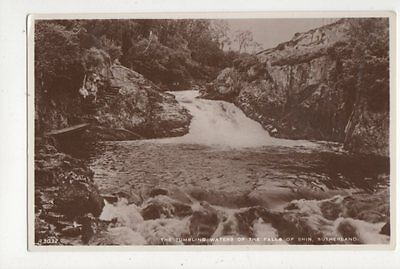 The Tumbling Waters Of The Falls Of Shin Sutherland Vintage RP  Postcard 438a