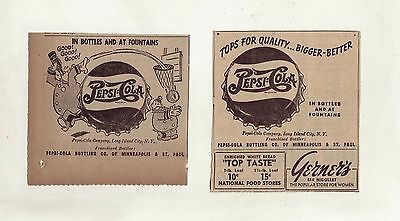 Pepsi Cola Cops - Pepsi & Pete - Lot of 2 paper ads for Pepsi-Cola from May 1947