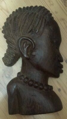 Antique Vintage Hand crafted Carved Wooden African Face Bust Dark wood Sculpture