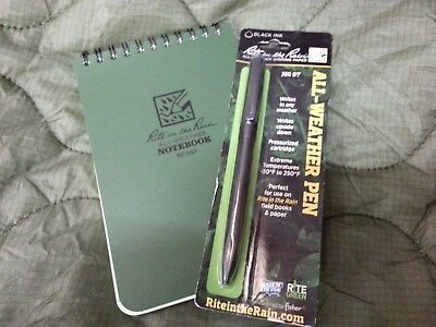 Rite in the Rain 946 Top Spiral Tactical Notebook Green & All Weather Black Pen