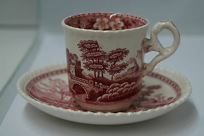 Antique Copeland Spode's Tower Red Chocolate Tea Cup + Saucer