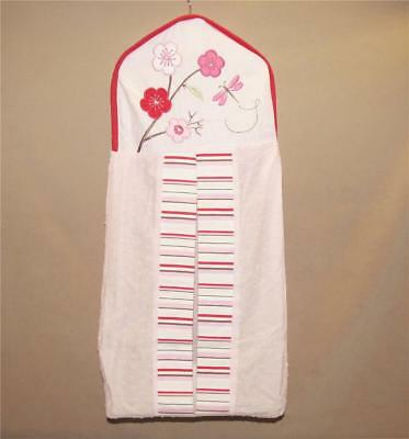 Kidsline Pink Cherry Blossom Dotted Swiss Red Striped Nursery Diaper Stacker