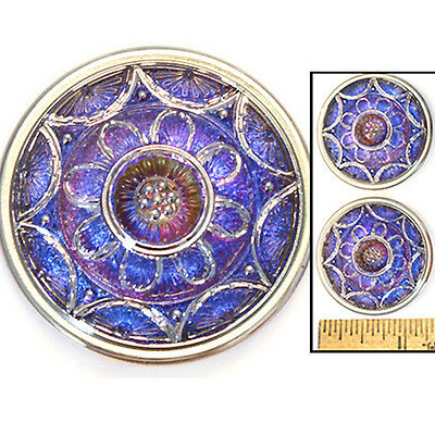 Reduced! LG 35mm Vintage Czech Lacy Blue PURPLE Fire AB STAR Glass Buttons 2pc
