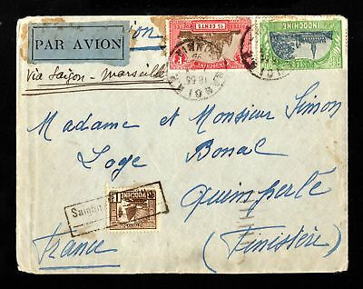 17287-INDOCHINA-AIRMAIL COVER HANOI to FRANCE.1932.WWII.Indochine.