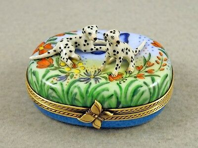 New French Limoges Trinket Box Cute Dalmatian Dog Puppies In Colorful Garden