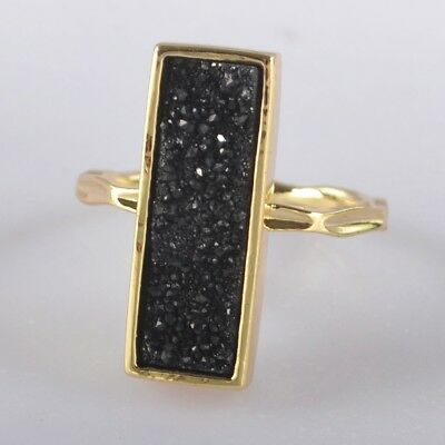 Size 5.5 Natural Agate Titanium Druzy Bezel Ring Gold Plated H102065