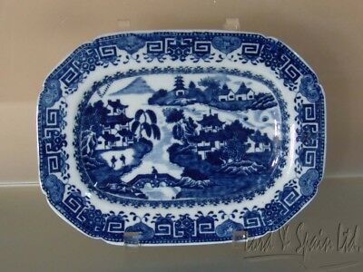 """Antique 19th C English Blue Willow 10"""" Small Platter"""