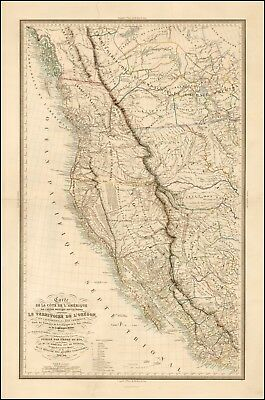 1844 Map POSTER Western United States Published prior California Gold Rush 42019