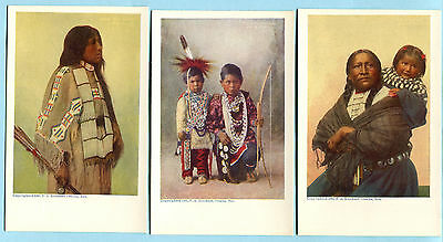 3 Orig 1905 RINEHART INDIAN Postcards * Undivided Back SIOUX Annie Red Shirt