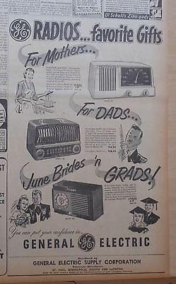 1950 newspaper ad for GE radios - models 124, 135, 500, for Dads, Grads, Mothers