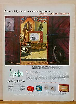 1953 magazine ad for Sparton Cosmic Eye Television and radios, tv set in barn