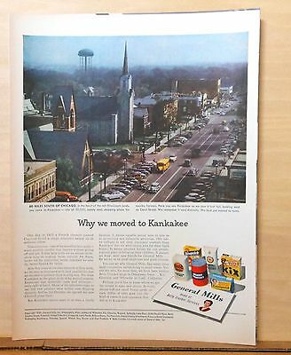 1949 magazine ad for General Mills - Why We Moved to Kankakee, Court St. scene