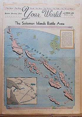 1942 full page color Newspaper Map -The Solomon Islands Battle Area, WW2 map
