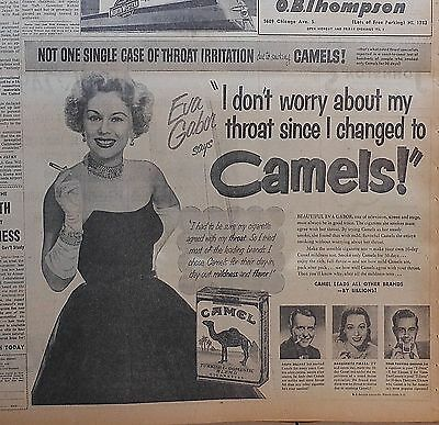 Large 1951 newspaper ad for Camel Cigarettes - Eva Gabor smokes them for throat