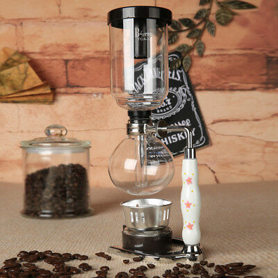 Glass Syphon Coffee Maker Machine Siphon Vacuum Pot Filter Bottle Set For 5 Cups