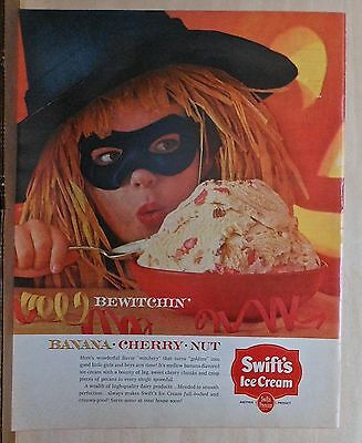 "1963 magazine ad for Swift's Ice Cream, Halloween ad, little ""witch"" & ice cream"