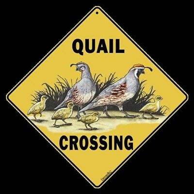 "QUAIL Crossing Sign, Metal 12"" by 12"" on sides, 16"" on Diagonal-"