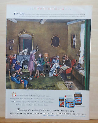 1948 magazine ad for Maxwell House Coffee - Sewing circle coffee time, Munsell