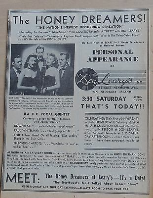 1957 newspaper ad for The Honey Dreamers Minnesota quintet - Leary's appearance