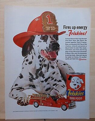 1962 magazine ad for Friskies Dog Food - Dalmatian dog with fire truck, helmet