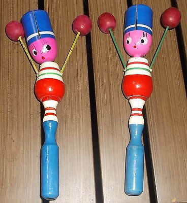 Vintage Wood Clickers Clackers Noisemaker Pair - Woman Girl - Red White Blue