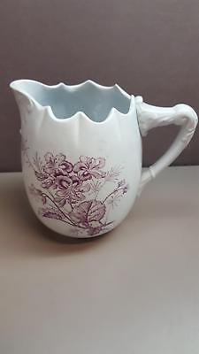 VINTAGE Small Pitcher Signed by Artist: OTTA Hand PAINTED Purple FLORAL