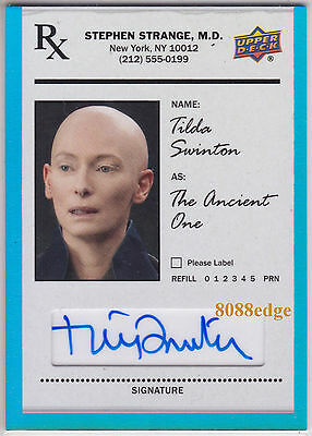 2016 Doctor Strange The Ancient One Auto: Tilda Swinton - Autograph Blue Foil