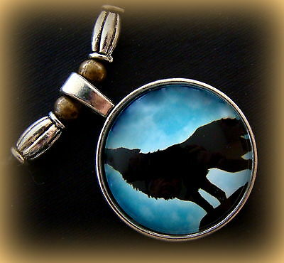 Howling WOLF Necklace Pendant Jewelry - Glass Cabochon  Striking Unique Beadwork