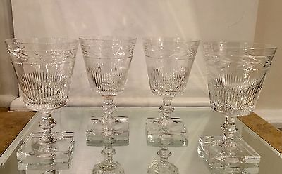 Superb Set of 4 Signed Edinburgh Crystal Scotch Wine Stems