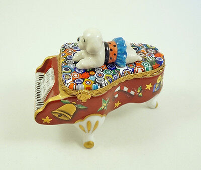 New French Limoges Trinket Box Bichon Frise Dog On Xmas Grand Piano Millefiori