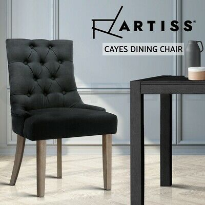 CAYES Dining Chair Linen Fabric French Provincial Wood Retro Kitchen Black