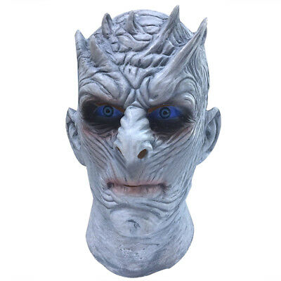 Halloween Scary Mask Latex White Zombie Ice Walker Night King Cosplay Stage Prop