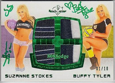 2012 Benchwarmer Soccer Swatch Auto: Suzanne Stokes/buffy Tyler #1/10 Autograph