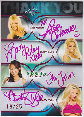 2009 Benchwarmer Dealer Only Quad Auto #18/25 Autograph: Gleave/Riley/Flo/Buffy