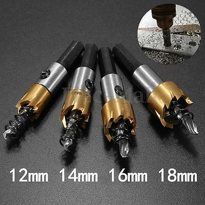 12/14/16/18mm HSS Steel Tipped Drill Bit Metal Wood Cutter Coated Hole Saw Tool