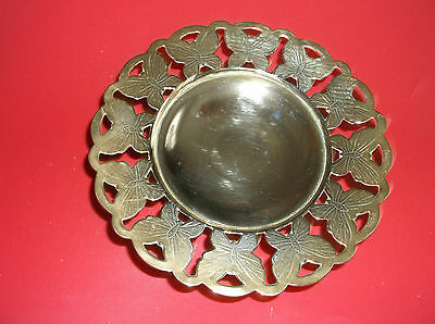 Brass Dish On Raised Stand  Butterly  Edging