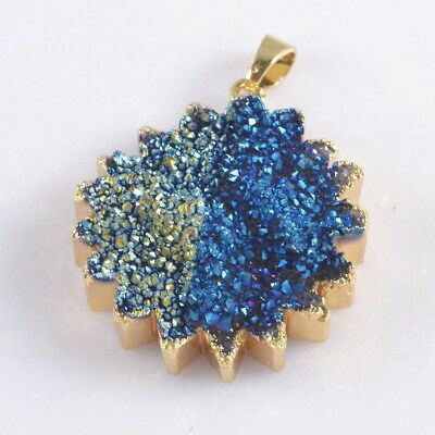 Natural Agate Titanium Druzy Round Gear Sunflower Pendant Gold Plated H101909