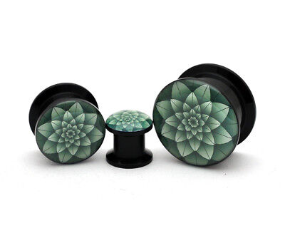 Pair of Black Acrylic Green Lotus Picture Plugs gauges 8g through 1 inch