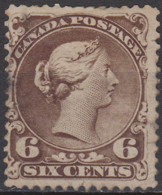 Canada 1868 Large Queen Mint Mounted 6c Blackish Brown SG50 Cat £1800