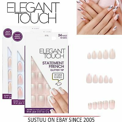 Elegant Touch Statment French Manicure False Adhesive Press On Finger Nails