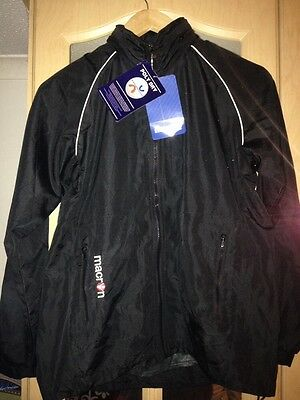 Boys / Mens Black Macron Football Training Jacket. Windbreaker. Rain Jacket. Xs