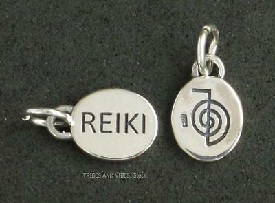 REIKI Cho Ku Rei Charm 13mm 925 Sterling Silver 2sided Jewellery inc jump ring