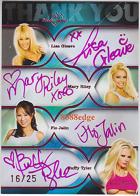 2009 Benchwarmer Dealer Quad Auto #16/25 Autograph: Gleave/Riley/Flo Jalin/Buffy