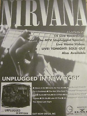 Nirvana, Unplugged in New York, Full Page Vintage Promotional Ad