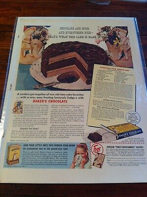 Vintage 1940 Baker's Chocolate Chocolate & Spice And Everything Nice Print ad