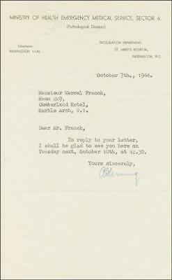 Alexander Fleming - Typed Letter Signed 10/07/1944