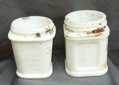 2 MILK GLASS CONTAINERS-Franco American-Elcaya-1890-1900